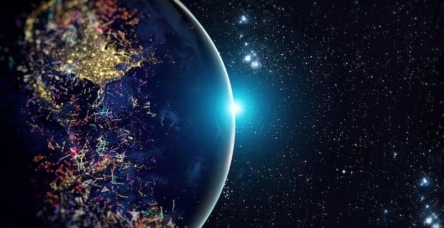 Rede mundial global e telecomunicações na terra, tecnologia para negócios na internet. elementos desta imagem fornecidos pela nasa