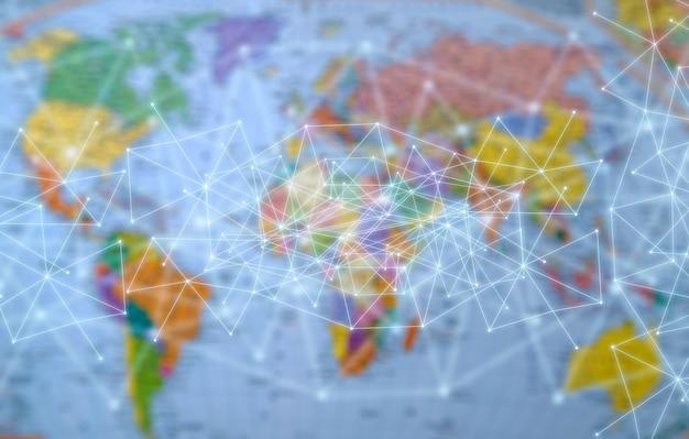 Rede no fundo do mapa mundial.