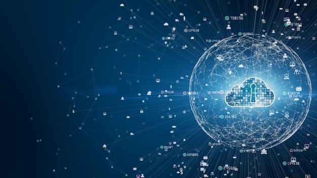 Rede segura de dados digitais. conceito de computação digital de segurança de nuvem digital