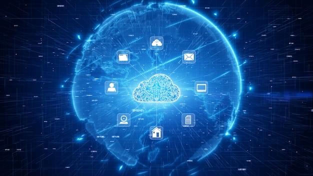 Rede segura de dados digitais. conceito de segurança cibernética de computação em nuvem digital