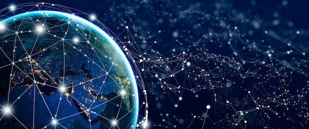 Rede social global e conceito de conexão de negócios futuro da internet e da tecnologia