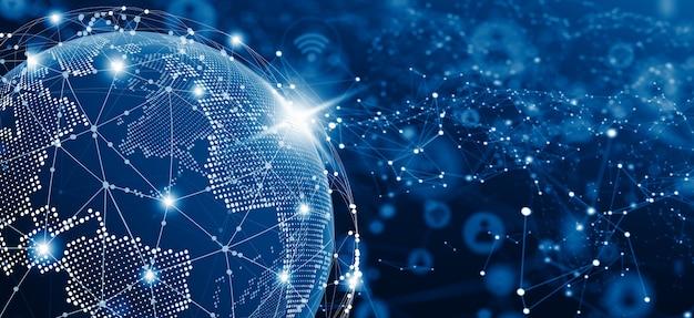 Rede social global e o conceito de conexão de negócios. ilustração do mundo e da rede. futuro da internet e da tecnologia. copie o espaço.