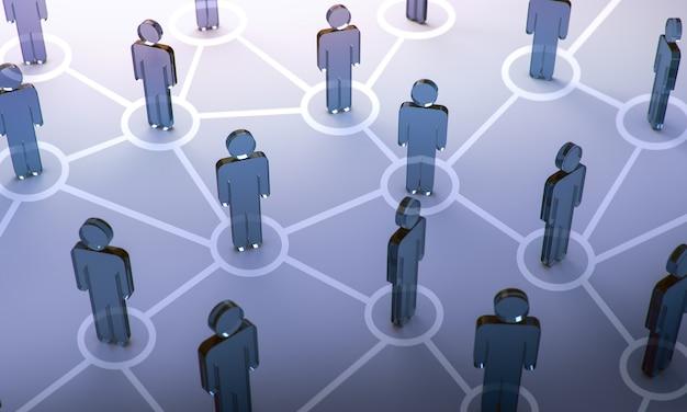 Rede social, ilustração 3d