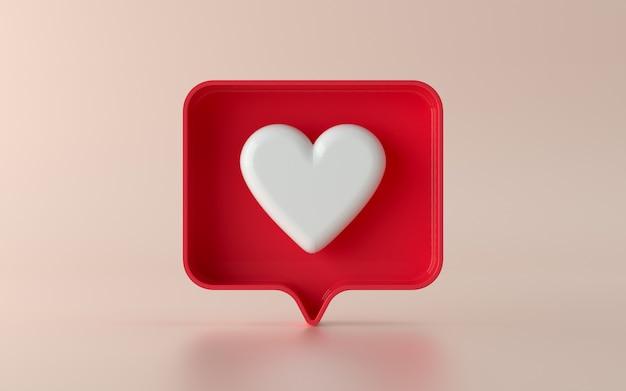 Redes sociais 3d como ilustração de ícone de notificação em 3d
