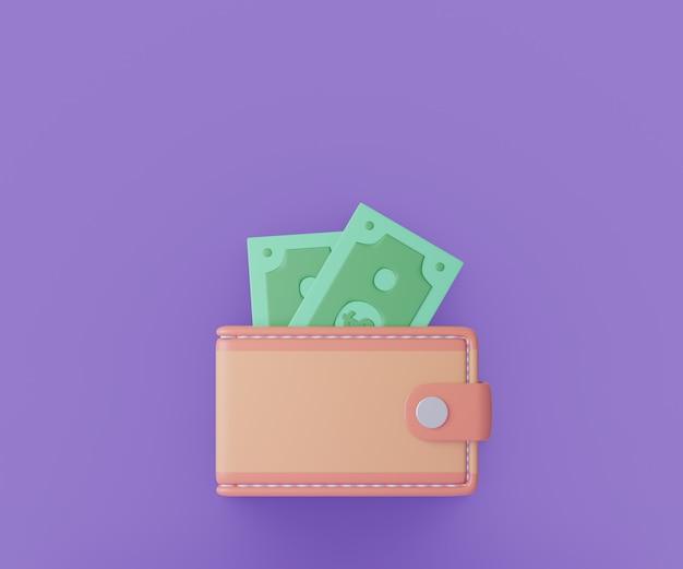Reembolso e dinheiro na carteira em fundo roxo. ilustração de renderização 3d