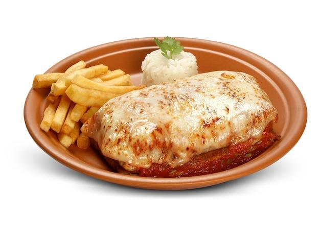 Refeição à parmigiana com batatas fritas