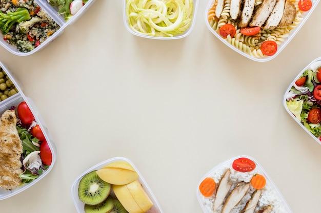 Refeição nutritiva do quadro de vista superior