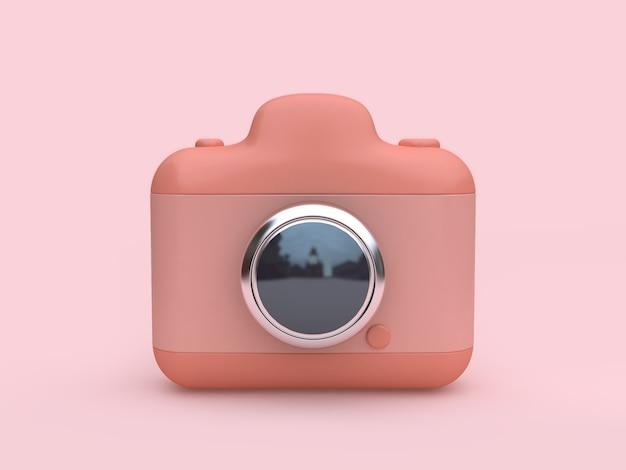 Reflexão de lente de câmera estilo dos desenhos animados renderização em 3d fundo rosa