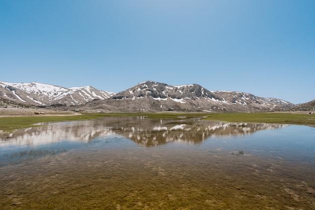 Reflexão de montanhas na água do lago