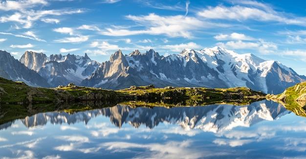 Reflexão do mont blanc em um lago