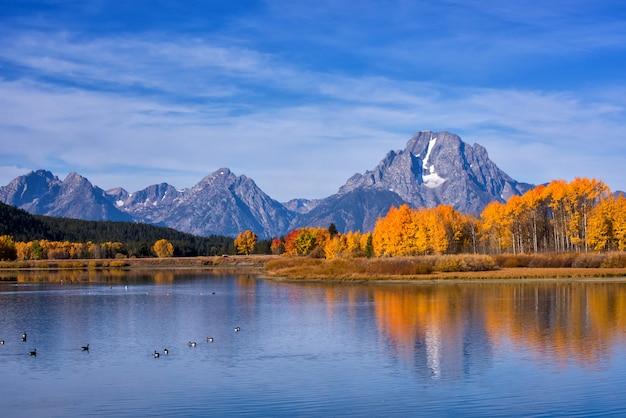 Reflexão do monte moran no rio snake em oxbow bend no outono