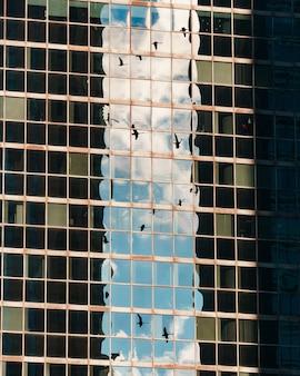 Reflexão dos pássaros no céu em um arranha-céu de vidro