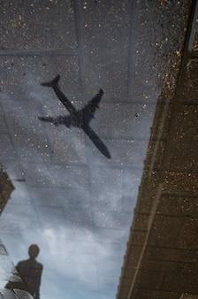 Reflexo abstrato de uma rua da cidade em uma poça chuvosa.