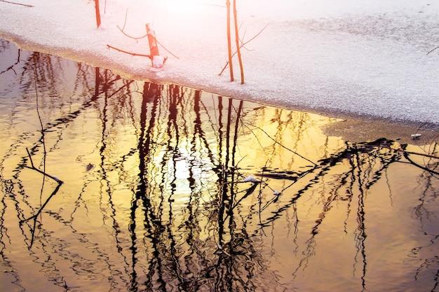 Reflexo das árvores na água do rio no inverno durante o pôr do sol, neve na margem do rio