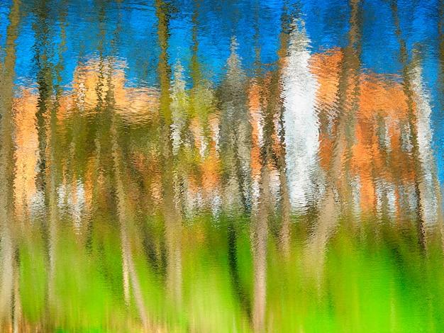 Reflexos de água colorida de fundo de árvores de verão