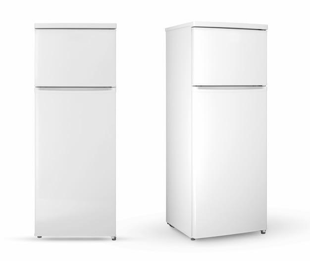 Refrigerador doméstico moderno de duas câmaras em um fundo branco, dois ângulos e posições, isolado