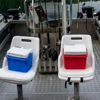 Refrigeradores, ligado, a, assentos, de, barcos pesca, em, doca, skeena-queen, charlotte, regional, distrito, haida, gwaii
