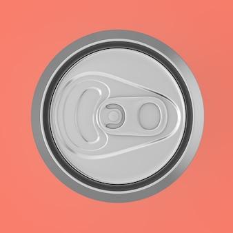 Refrigerante de alumínio em branco, coda, vista superior da lata de cerveja em um fundo rosa. renderização 3d