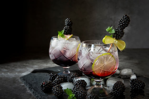 Refrigerantes sazonais. sede no verão quente. dois copos de gelo, água, limão e amoreira com hortelã. keto dieta, refrigerantes e bebidas alcoólicas. coquetel de frutas