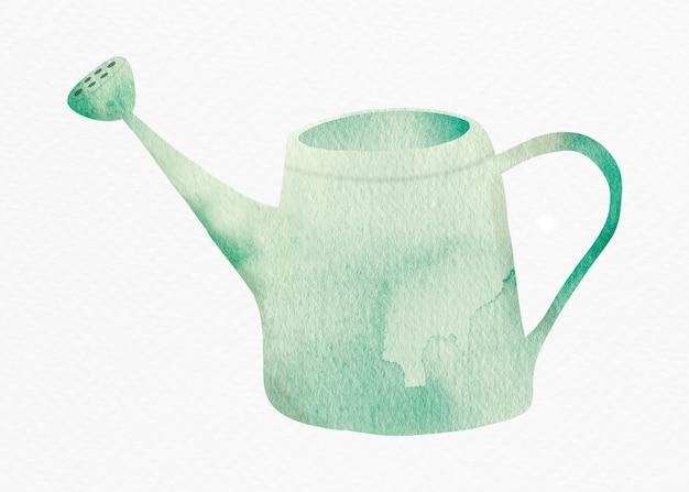 Regador em elemento de design aquarela verde