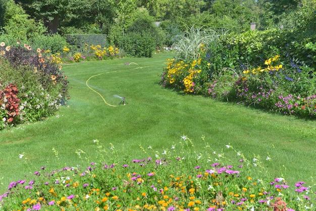 Regando com irrigador um jardim paisagístico com canteiros de flores coloridas que florescem no verão