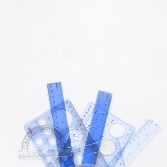 Réguas de matemática azul suprimentos com espaço de cópia