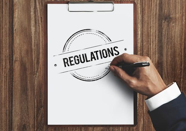 Regulamentos condições regras padrão termos conceito