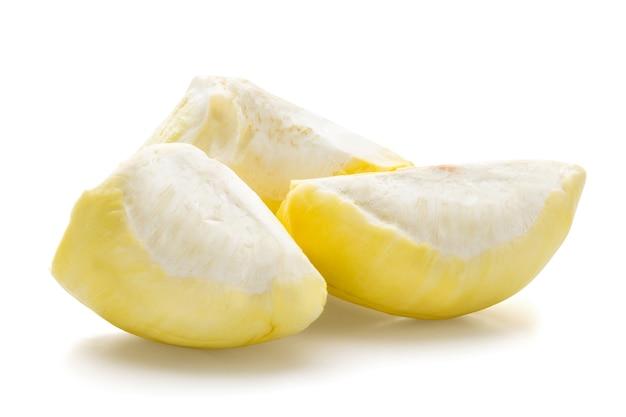 Rei das frutas, durian isolado no branco com traçado de recorte.