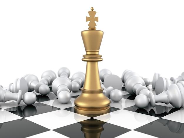 Rei do xadrez dourado vencendo os peões brancos. renderização tridimensional