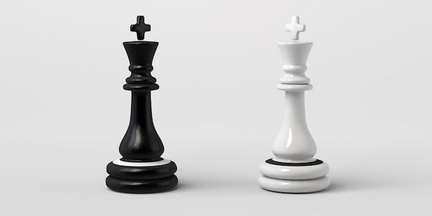 Rei do xadrez preto e branco frente a frente. isolado em um fundo branco.