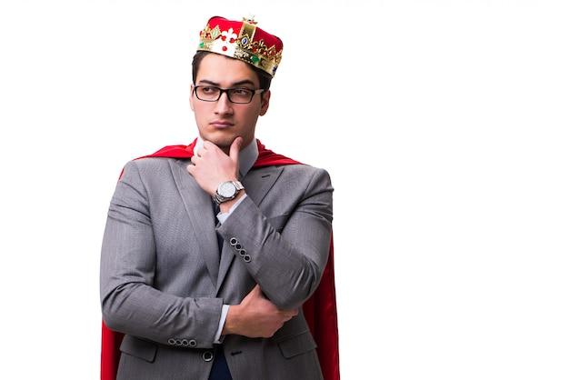 Rei empresário vestindo capa vermelha