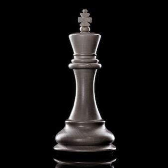Rei preto e branco da configuração do xadrez em fundo escuro. conceito de líder e trabalho em equipe para o sucesso. o conceito de xadrez salva o rei e salva a estratégia.