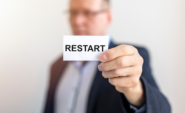 Reiniciar palavra, conceito de inscrição de novo início e redefinir