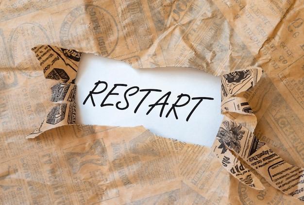 Reinicie a palavra, a inscrição. conceito de novo início e reinicialização.