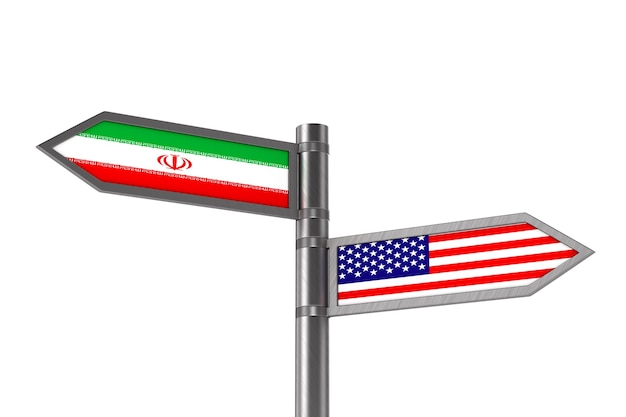 Relação entre a américa e o irã em fundo branco. ilustração 3d isolada