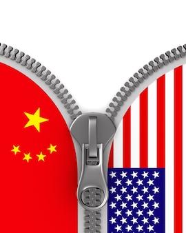 Relação entre américa e china em branco