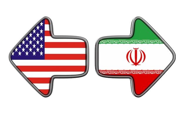 Relacionamento entre a américa e o irã no espaço em branco. ilustração 3d isolada