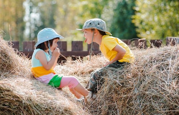 Relacionamentos infantis. crianças menina e menino brincando no feno na vila durante as férias de verão