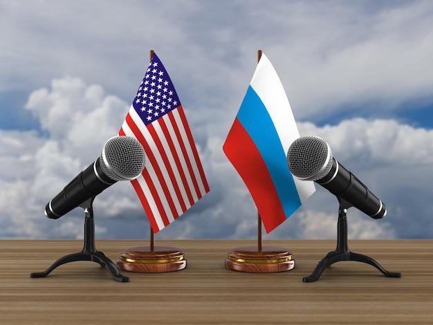 Relações entre a américa e a rússia. ilustração 3d