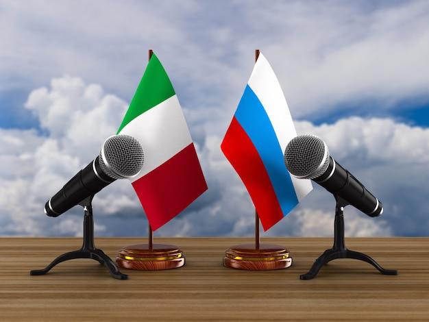 Relações entre a itália e a rússia. ilustração 3d