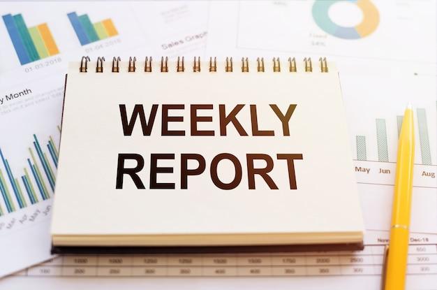 Relatório semanal - texto escrito em caderno de gráficos financeiros