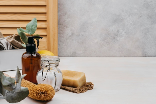 Relaxamento dentro de casa produtos cópia espaço fundo de mármore