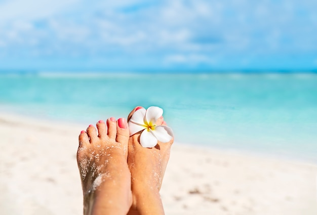 Relaxantes pés femininos descalços com flor branca de frangipani à beira-mar, com espaço de cópia