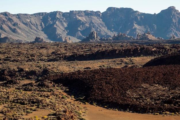 Relevo vulcânico com terra vermelha