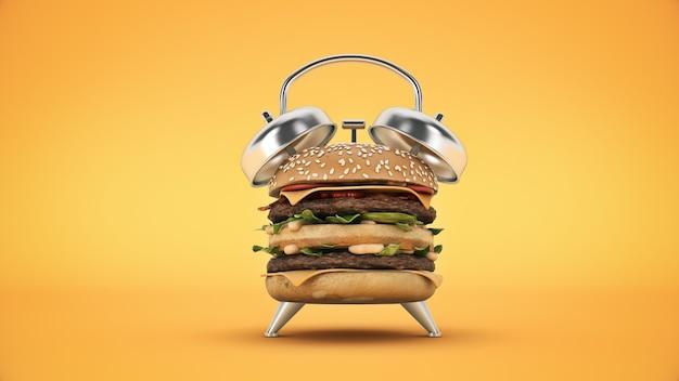 Relógio alarme hambúrguer renderização em 3d