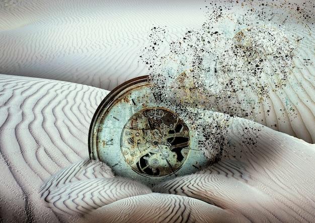 Relógio antigo se desintegrando enterrado na areia do deserto, fim dos tempos