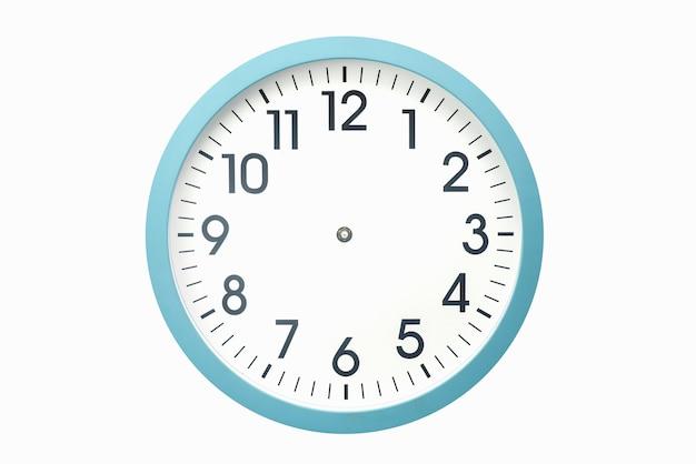 Relógio azul sem ponteiros em uma superfície branca