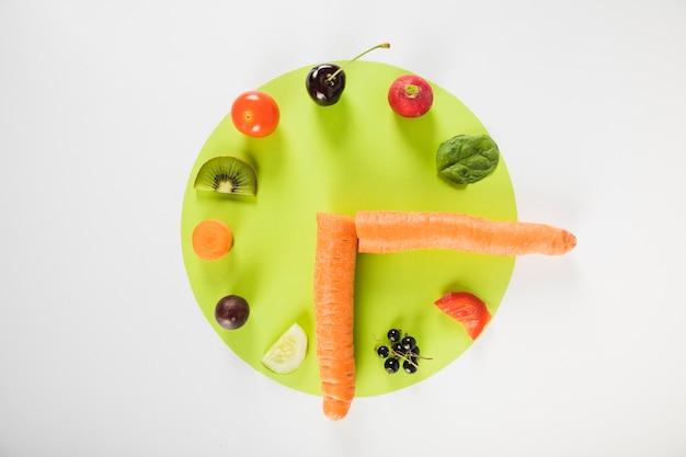 Relógio composto de várias frutas e legumes