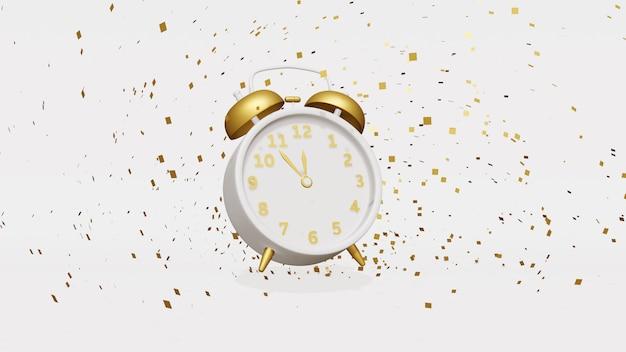 Relógio de ano novo com galhos e bolas