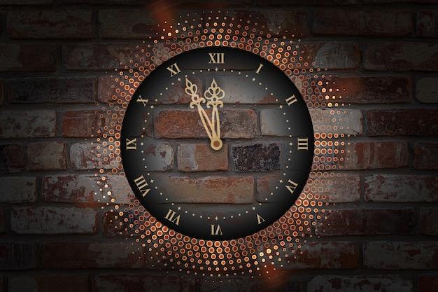 Relógio de ano novo com luzes de néon abstratas no fundo da parede de tijolo.